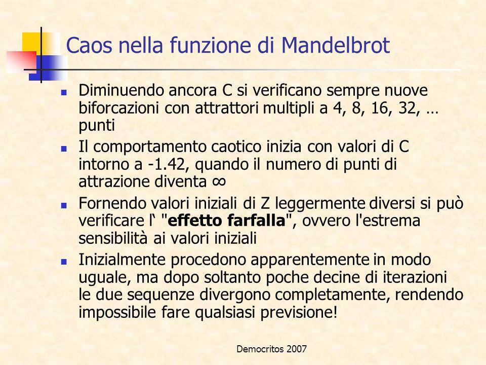 Democritos 2007 Caos nella funzione di Mandelbrot Diminuendo ancora C si verificano sempre nuove biforcazioni con attrattori multipli a 4, 8, 16, 32,