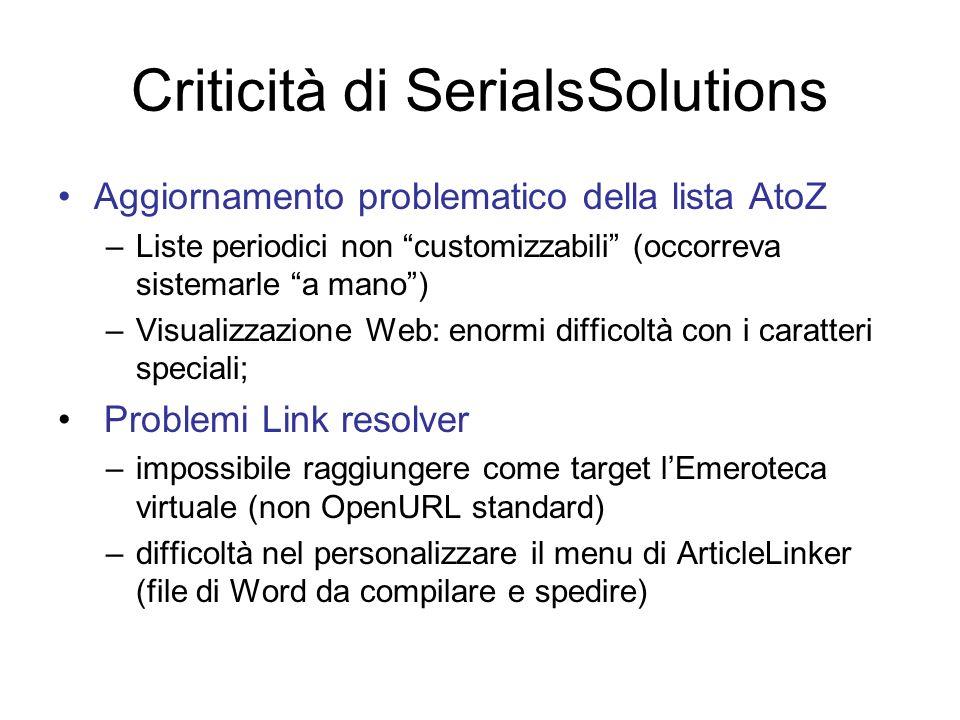 Criticità di SerialsSolutions Aggiornamento problematico della lista AtoZ –Liste periodici non customizzabili (occorreva sistemarle a mano) –Visualizz
