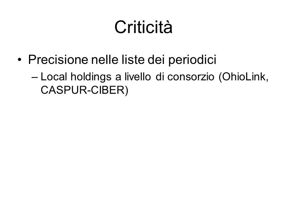 Criticità Precisione nelle liste dei periodici –Local holdings a livello di consorzio (OhioLink, CASPUR-CIBER)