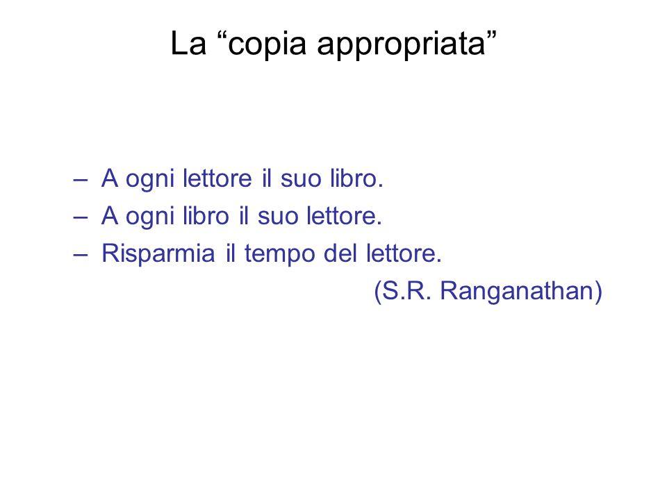 La copia appropriata – A ogni lettore il suo libro. – A ogni libro il suo lettore. – Risparmia il tempo del lettore. (S.R. Ranganathan)
