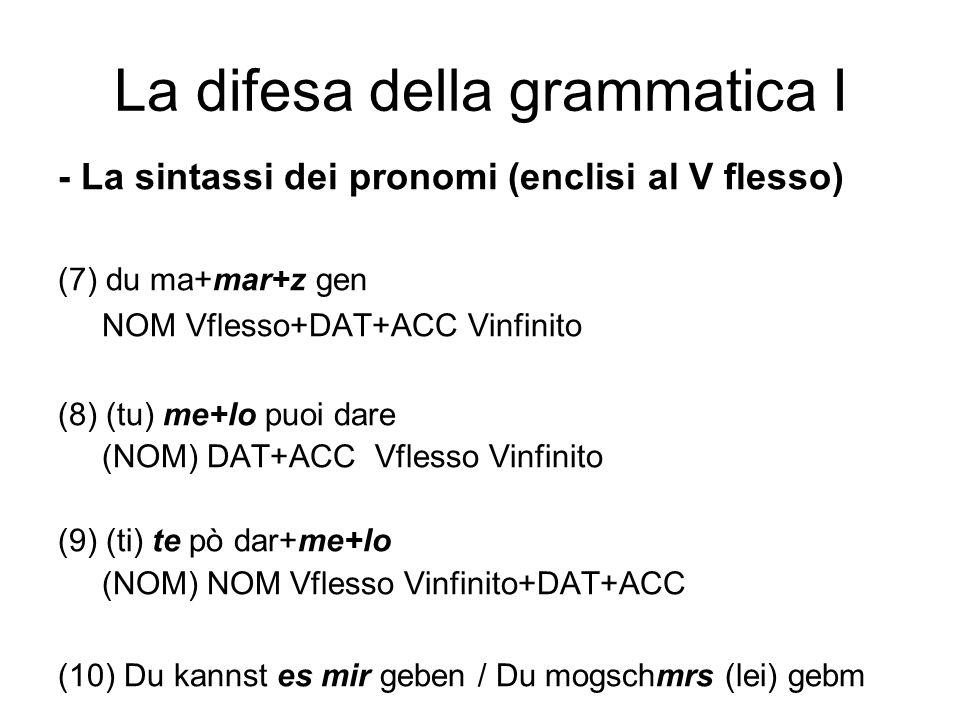 La difesa della grammatica I - La sintassi dei pronomi (enclisi al V flesso) (7) du ma+mar+z gen NOM Vflesso+DAT+ACC Vinfinito (8) (tu) me+lo puoi dar