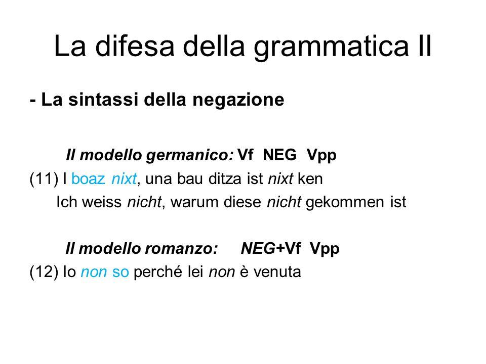 La difesa della grammatica II - La sintassi della negazione Il modello germanico: Vf NEG Vpp (11) I boaz nixt, una bau ditza ist nixt ken Ich weiss ni