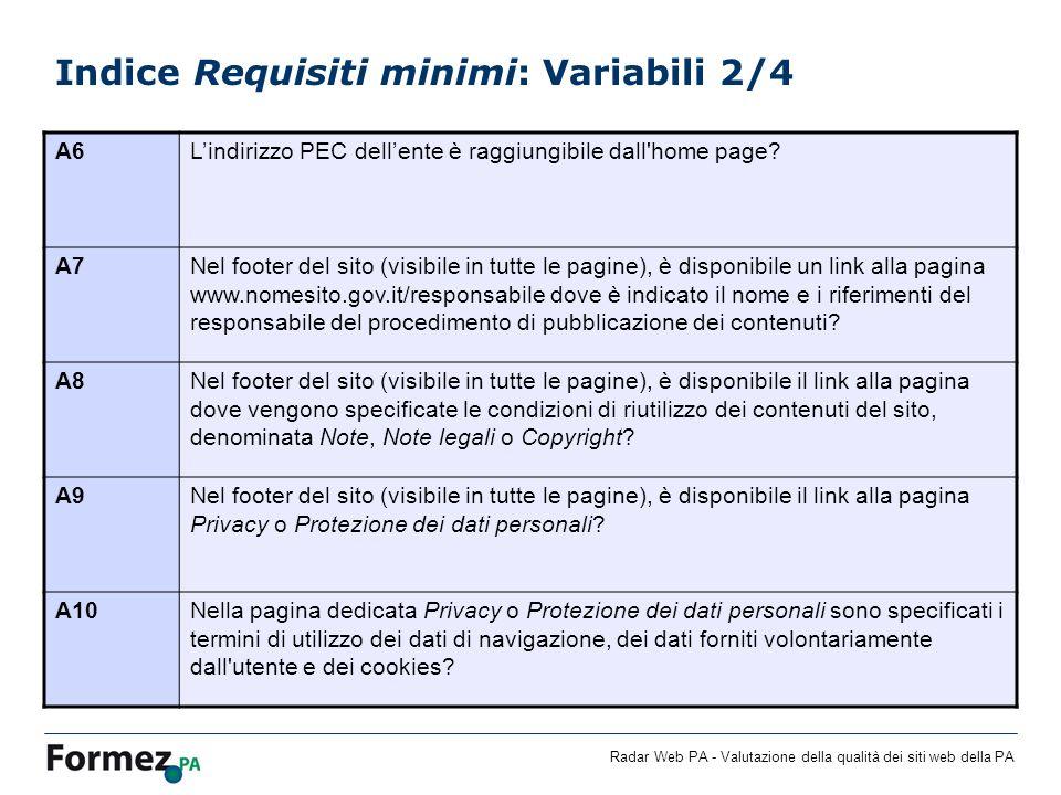Radar Web PA - Valutazione della qualità dei siti web della PA Indice Requisiti minimi: Variabili 2/4 A6Lindirizzo PEC dellente è raggiungibile dall home page.