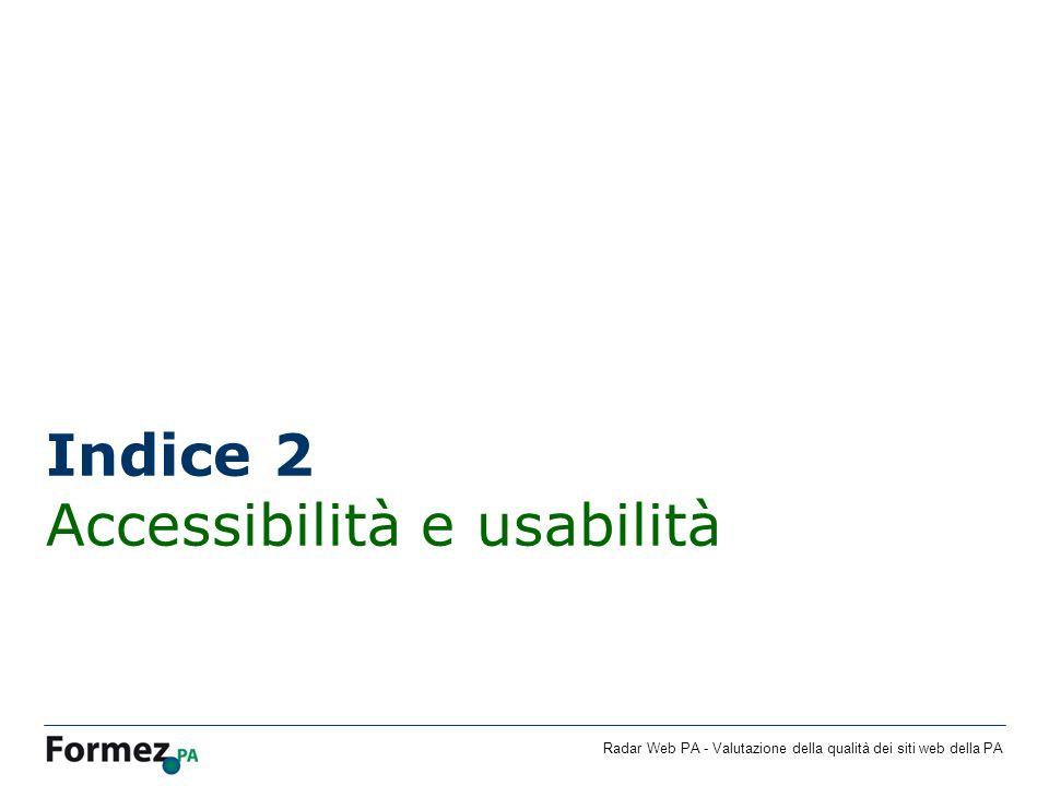 Radar Web PA - Valutazione della qualità dei siti web della PA Indice 2 Accessibilità e usabilità