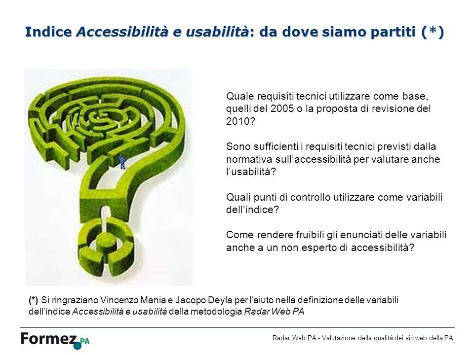 Radar Web PA - Valutazione della qualità dei siti web della PA Indice Accessibilità e usabilità: da dove siamo partiti (*) Quale requisiti tecnici utilizzare come base, quelli del 2005 o la proposta di revisione del 2010.