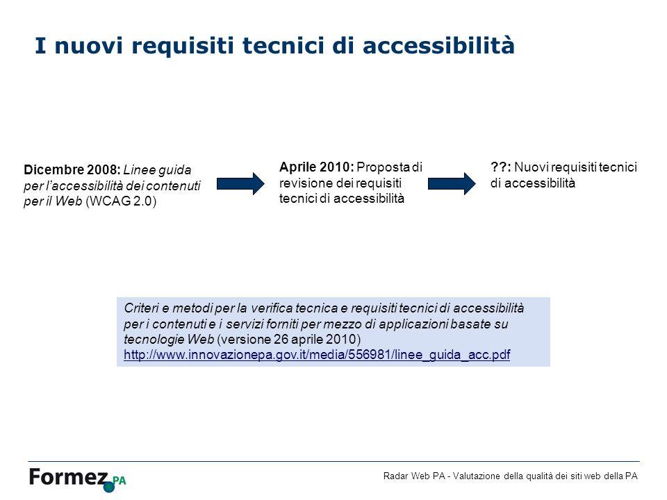 Radar Web PA - Valutazione della qualità dei siti web della PA I nuovi requisiti tecnici di accessibilità Dicembre 2008: Linee guida per laccessibilit
