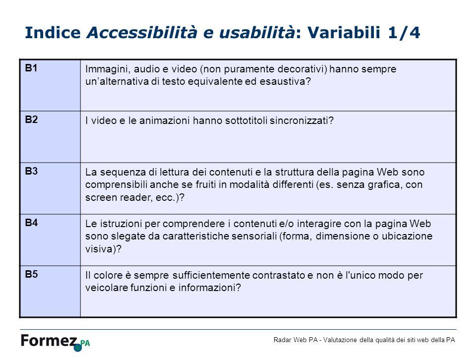 Radar Web PA - Valutazione della qualità dei siti web della PA Indice Accessibilità e usabilità: Variabili 1/4 B1Immagini, audio e video (non puramente decorativi) hanno sempre unalternativa di testo equivalente ed esaustiva.