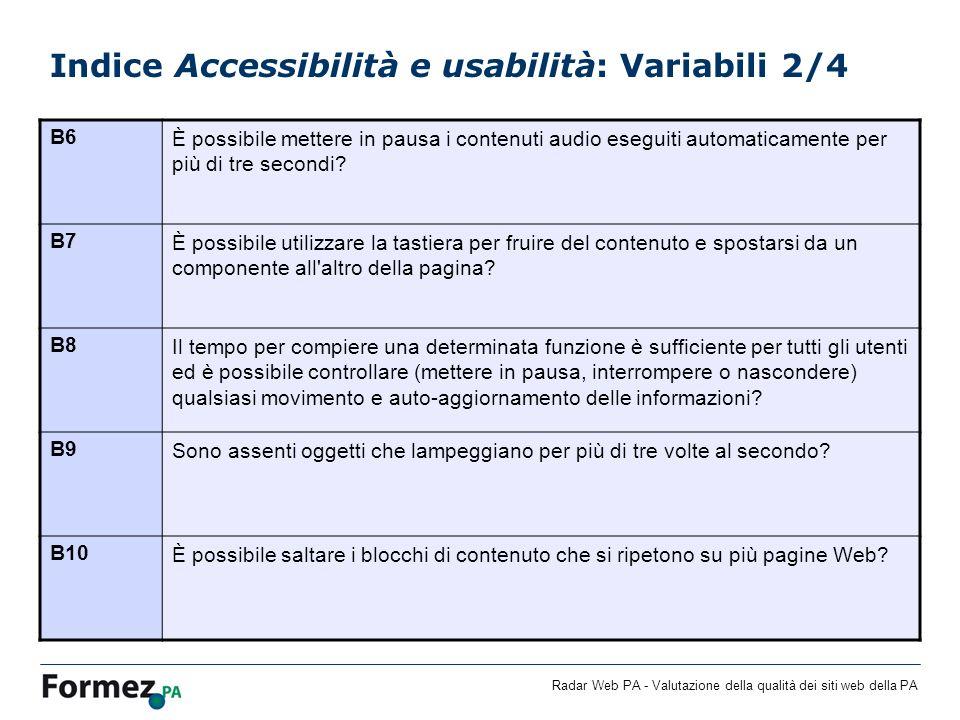 Radar Web PA - Valutazione della qualità dei siti web della PA Indice Accessibilità e usabilità: Variabili 2/4 B6È possibile mettere in pausa i contenuti audio eseguiti automaticamente per più di tre secondi.