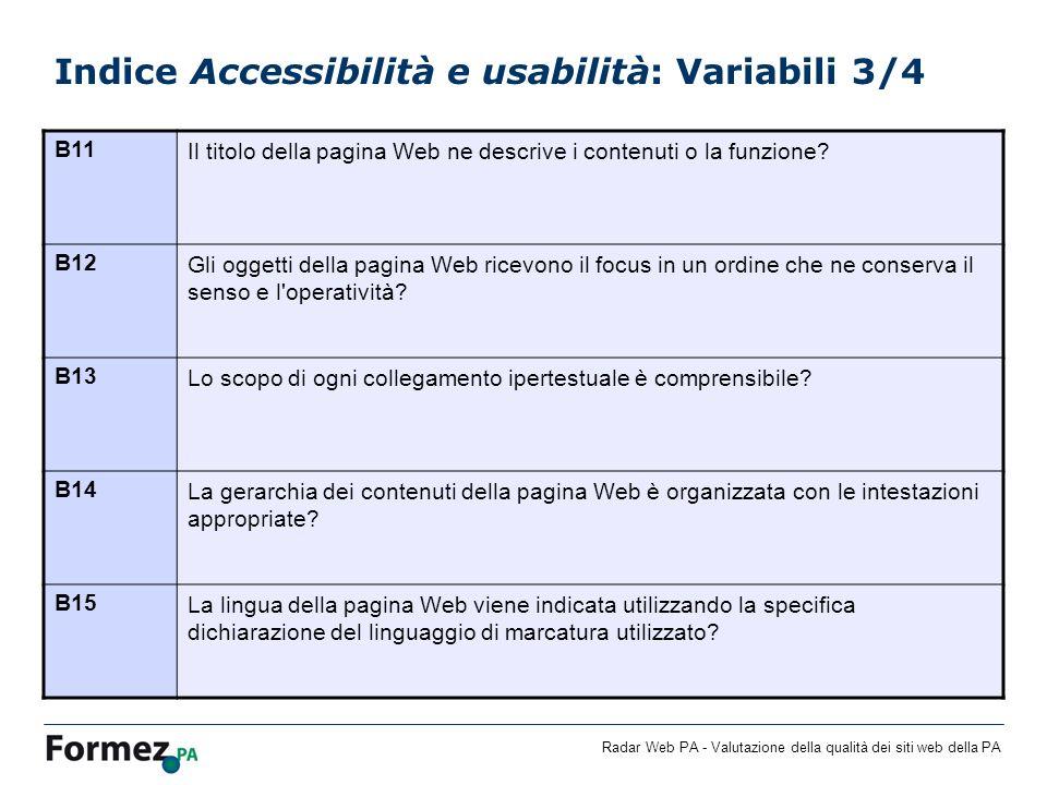 Radar Web PA - Valutazione della qualità dei siti web della PA Indice Accessibilità e usabilità: Variabili 3/4 B11Il titolo della pagina Web ne descri