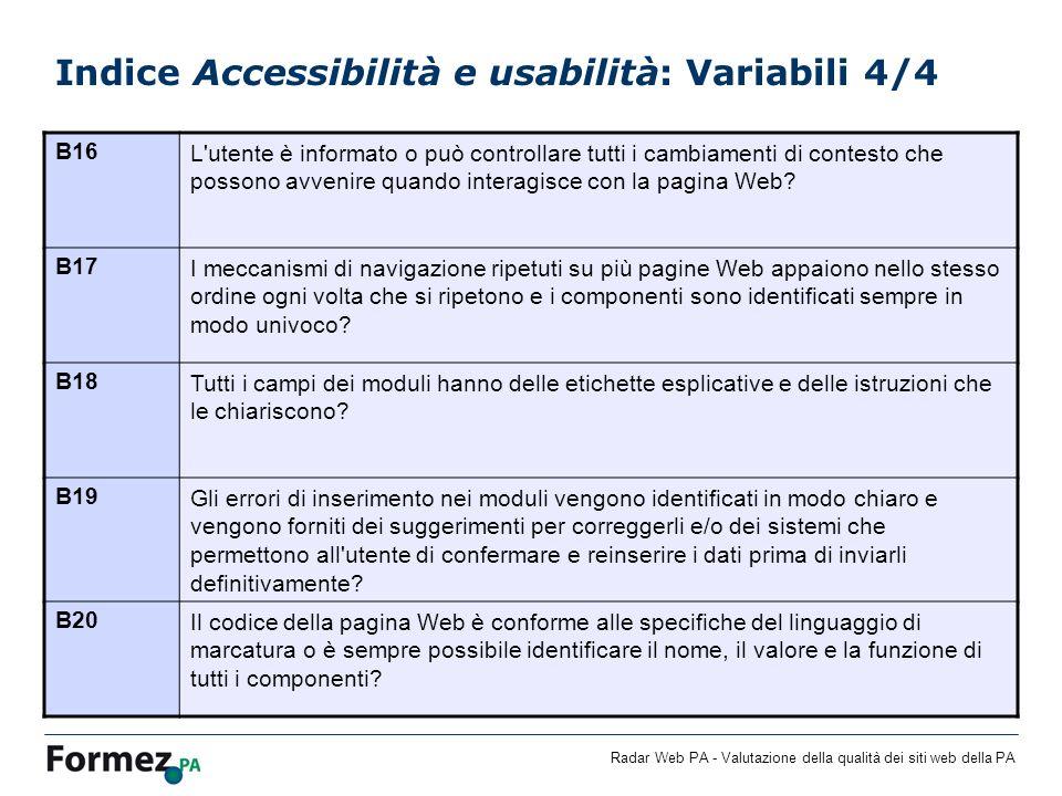 Radar Web PA - Valutazione della qualità dei siti web della PA Indice Accessibilità e usabilità: Variabili 4/4 B16L utente è informato o può controllare tutti i cambiamenti di contesto che possono avvenire quando interagisce con la pagina Web.