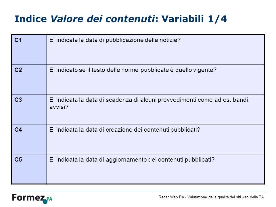 Radar Web PA - Valutazione della qualità dei siti web della PA Indice Valore dei contenuti: Variabili 1/4 C1E' indicata la data di pubblicazione delle