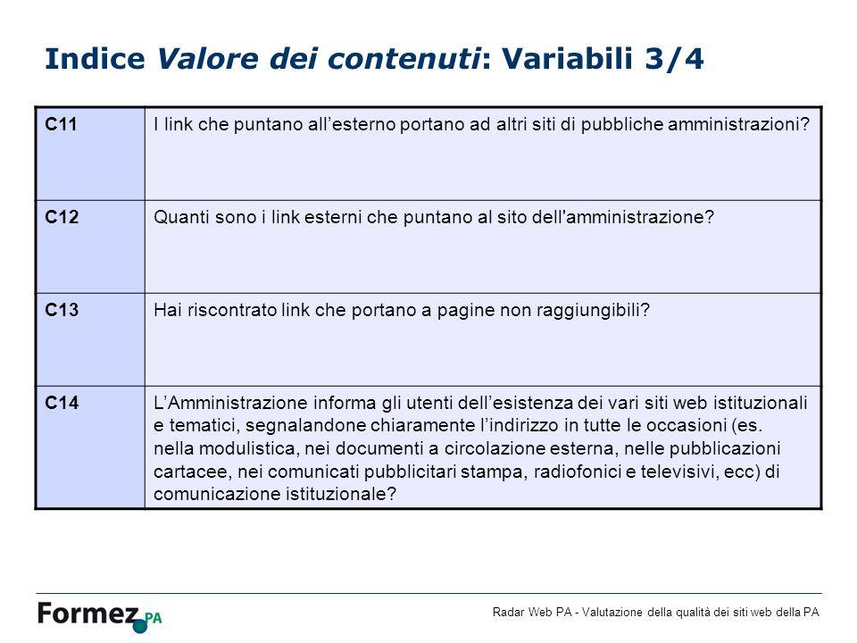 Radar Web PA - Valutazione della qualità dei siti web della PA Indice Valore dei contenuti: Variabili 3/4 C11I link che puntano allesterno portano ad altri siti di pubbliche amministrazioni.