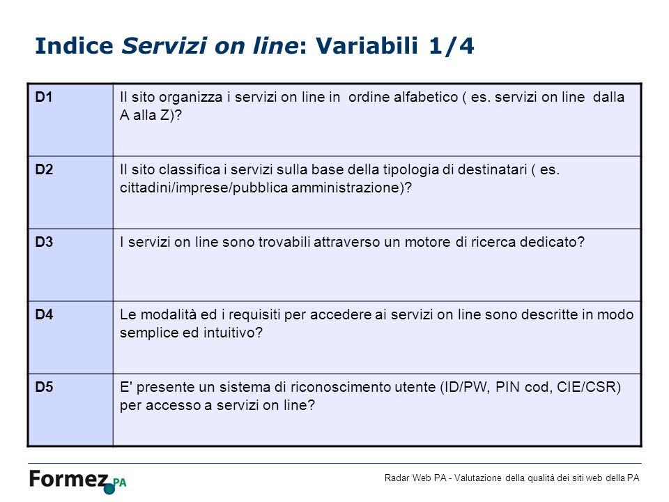 Radar Web PA - Valutazione della qualità dei siti web della PA Indice Servizi on line: Variabili 1/4 D1Il sito organizza i servizi on line in ordine a