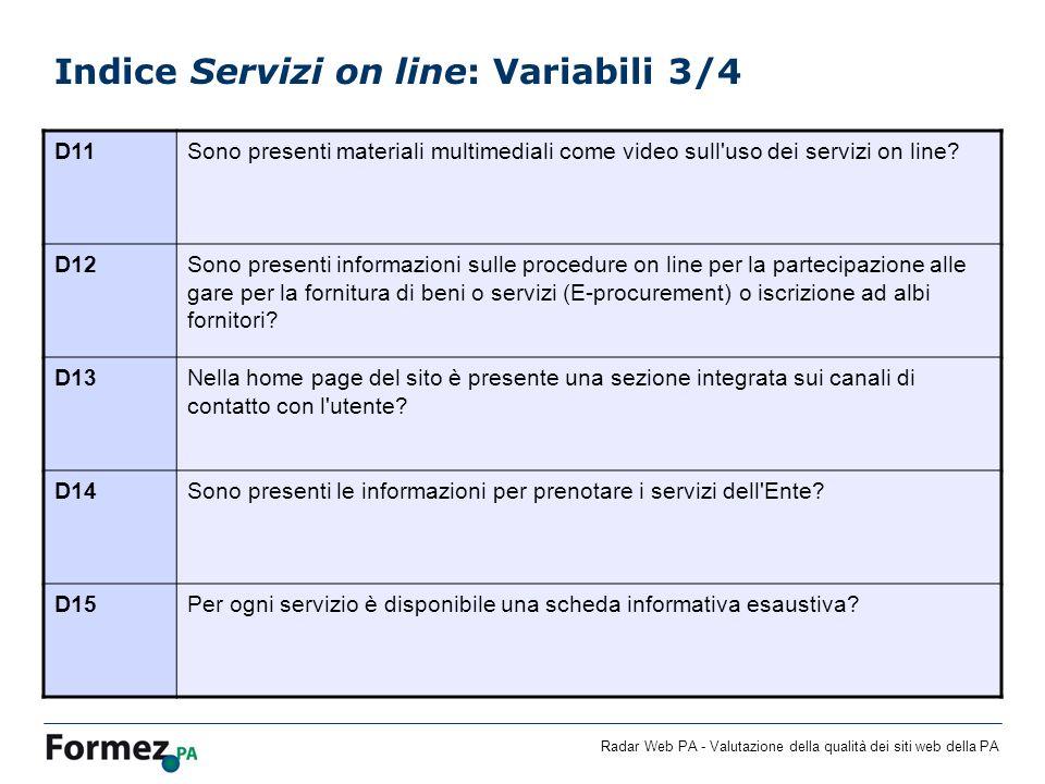 Radar Web PA - Valutazione della qualità dei siti web della PA Indice Servizi on line: Variabili 3/4 D11Sono presenti materiali multimediali come video sull uso dei servizi on line.