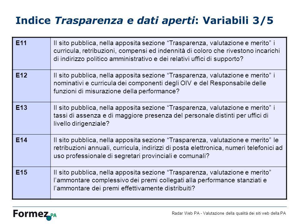 Radar Web PA - Valutazione della qualità dei siti web della PA Indice Trasparenza e dati aperti: Variabili 3/5 E11Il sito pubblica, nella apposita sez