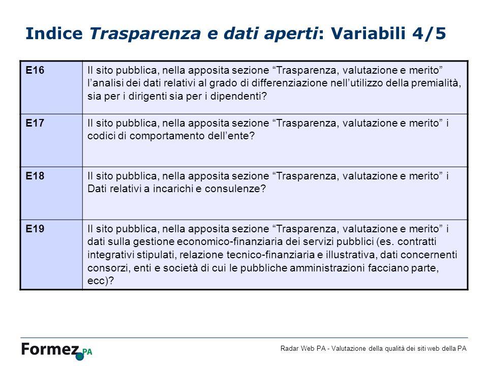 Radar Web PA - Valutazione della qualità dei siti web della PA Indice Trasparenza e dati aperti: Variabili 4/5 E16Il sito pubblica, nella apposita sez