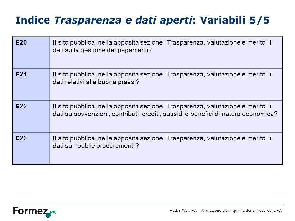 Radar Web PA - Valutazione della qualità dei siti web della PA Indice Trasparenza e dati aperti: Variabili 5/5 E20Il sito pubblica, nella apposita sez