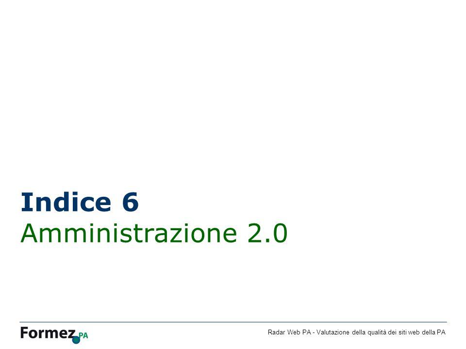 Radar Web PA - Valutazione della qualità dei siti web della PA Indice 6 Amministrazione 2.0