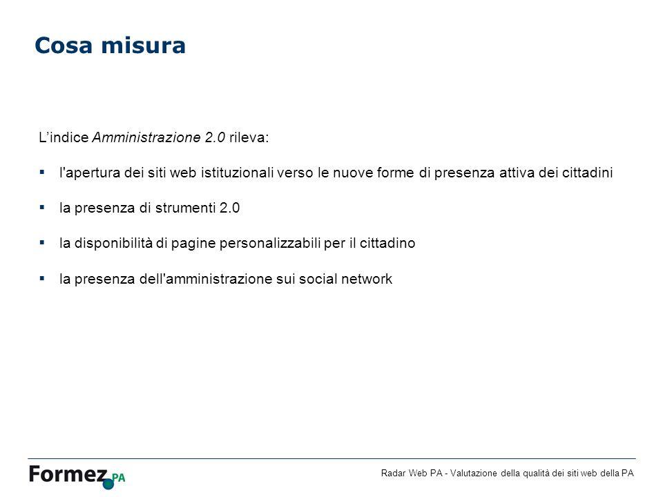 Radar Web PA - Valutazione della qualità dei siti web della PA Cosa misura Lindice Amministrazione 2.0 rileva: l'apertura dei siti web istituzionali v