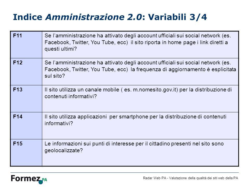 Radar Web PA - Valutazione della qualità dei siti web della PA Indice Amministrazione 2.0: Variabili 3/4 F11Se lamministrazione ha attivato degli account ufficiali sui social network (es.
