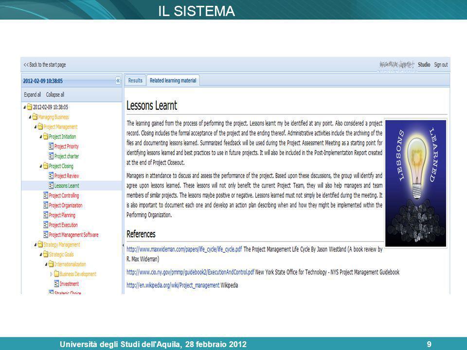 Università degli Studi dell'Aquila, 28 febbraio 20129 IL SISTEMA