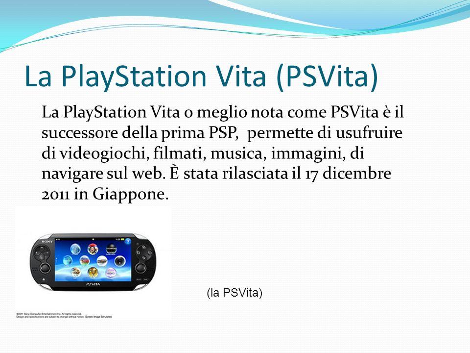La PlayStation Vita (PSVita) La PlayStation Vita o meglio nota come PSVita è il successore della prima PSP, permette di usufruire di videogiochi, film