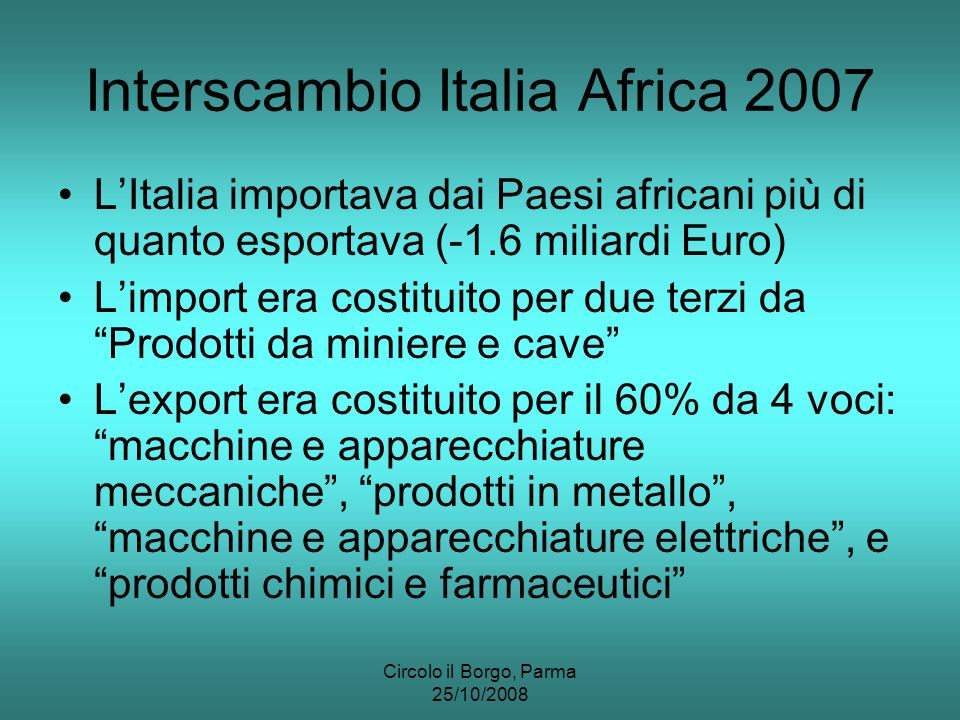 Circolo il Borgo, Parma 25/10/2008 Interscambio Italia Africa 2007 LItalia importava dai Paesi africani più di quanto esportava (-1.6 miliardi Euro) Limport era costituito per due terzi da Prodotti da miniere e cave Lexport era costituito per il 60% da 4 voci: macchine e apparecchiature meccaniche, prodotti in metallo, macchine e apparecchiature elettriche, e prodotti chimici e farmaceutici