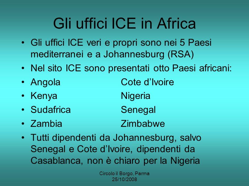 Circolo il Borgo, Parma 25/10/2008 Gli uffici ICE in Africa Gli uffici ICE veri e propri sono nei 5 Paesi mediterranei e a Johannesburg (RSA) Nel sito ICE sono presentati otto Paesi africani: AngolaCote dIvoire KenyaNigeria SudafricaSenegal ZambiaZimbabwe Tutti dipendenti da Johannesburg, salvo Senegal e Cote dIvoire, dipendenti da Casablanca, non è chiaro per la Nigeria