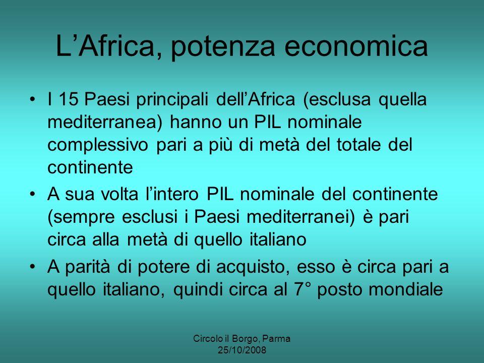 Circolo il Borgo, Parma 25/10/2008 LAfrica, potenza economica I 15 Paesi principali dellAfrica (esclusa quella mediterranea) hanno un PIL nominale complessivo pari a più di metà del totale del continente A sua volta lintero PIL nominale del continente (sempre esclusi i Paesi mediterranei) è pari circa alla metà di quello italiano A parità di potere di acquisto, esso è circa pari a quello italiano, quindi circa al 7° posto mondiale