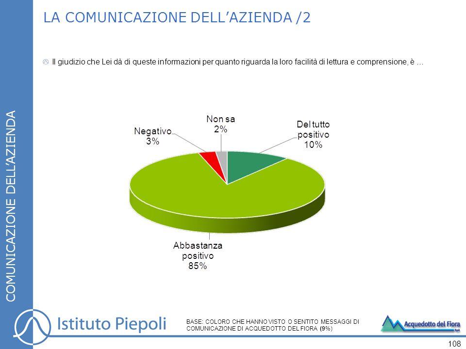 LA COMUNICAZIONE DELLAZIENDA /2 COMUNICAZIONE DELLAZIENDA Il giudizio che Lei dà di queste informazioni per quanto riguarda la loro facilità di lettura e comprensione, è … 108 BASE: COLORO CHE HANNO VISTO O SENTITO MESSAGGI DI COMUNICAZIONE DI ACQUEDOTTO DEL FIORA (9%)