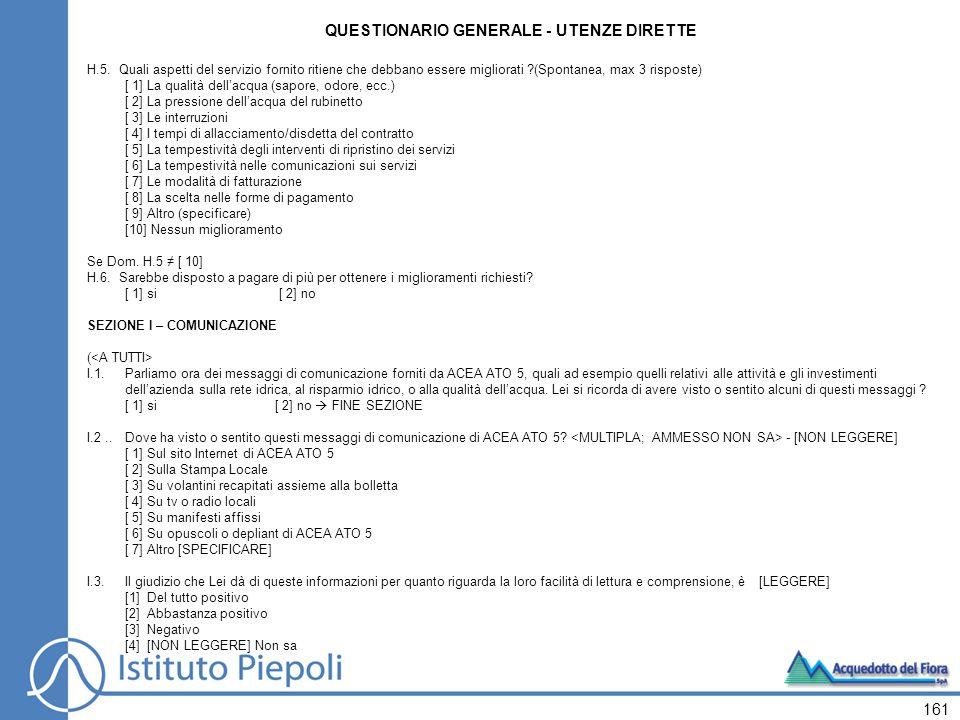 161 QUESTIONARIO GENERALE - UTENZE DIRETTE H.5.