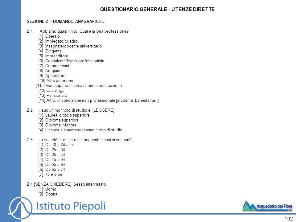 162 QUESTIONARIO GENERALE - UTENZE DIRETTE SEZIONE Z – DOMANDE ANAGRAFICHE Z.1.