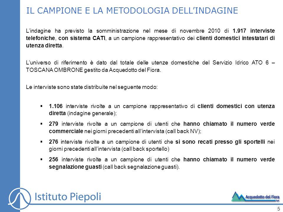 IL CAMPIONE E LA METODOLOGIA DELLINDAGINE Lindagine ha previsto la somministrazione nel mese di novembre 2010 di 1.917 interviste telefoniche, con sistema CATI, a un campione rappresentativo dei clienti domestici intestatari di utenza diretta.