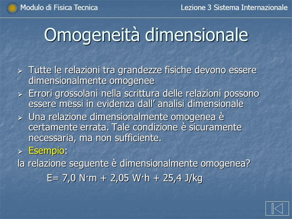 Modulo di Fisica TecnicaLezione 3 Sistema Internazionale Omogeneità dimensionale Tutte le relazioni tra grandezze fisiche devono essere dimensionalmen
