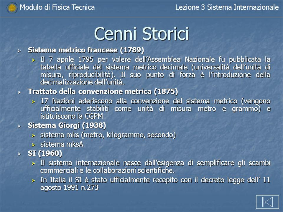 Modulo di Fisica TecnicaLezione 3 Sistema Internazionale Cenni Storici Sistema metrico francese (1789) Sistema metrico francese (1789) Il 7 aprile 179