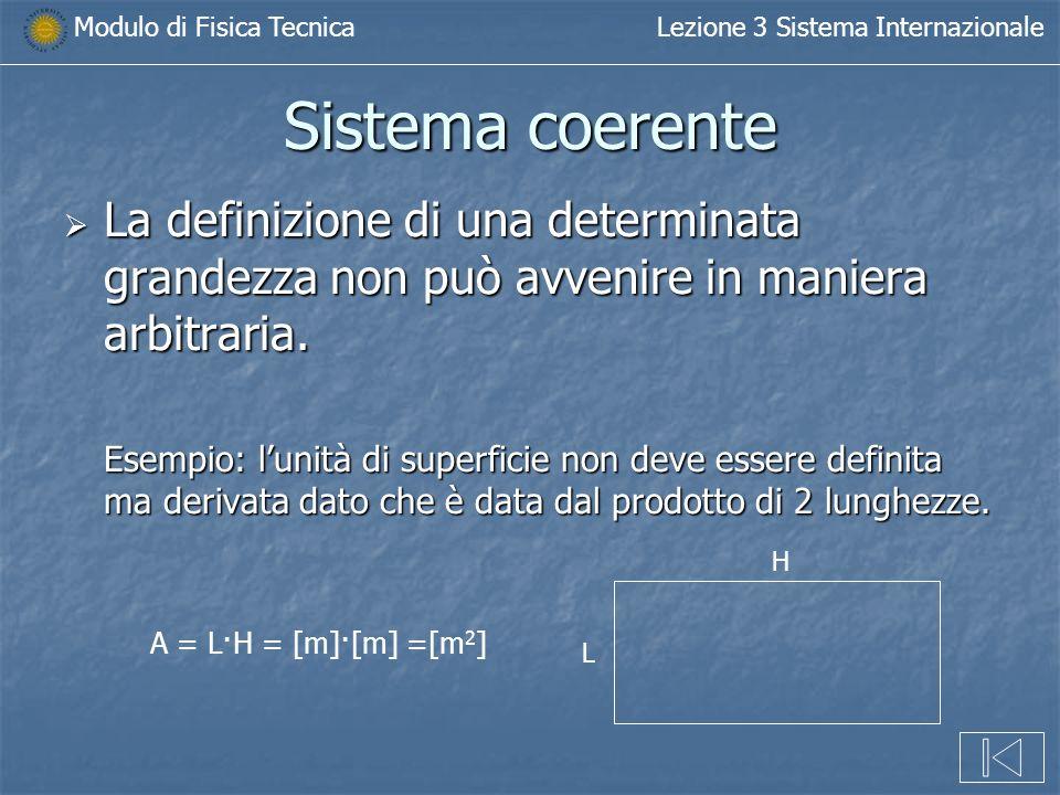 Modulo di Fisica TecnicaLezione 3 Sistema Internazionale Sistema coerente La definizione di una determinata grandezza non può avvenire in maniera arbi