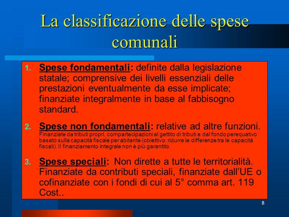 9 Le spese fondamentali (individuate provvisoriamente dalla L.