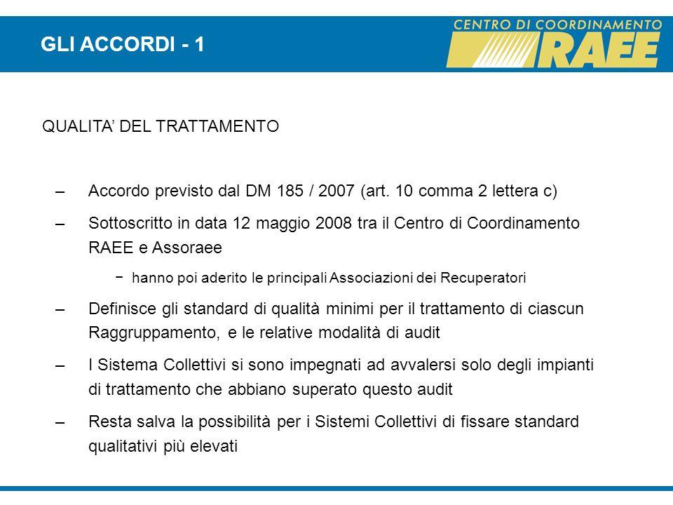 QUALITA DEL TRATTAMENTO –Accordo previsto dal DM 185 / 2007 (art. 10 comma 2 lettera c) –Sottoscritto in data 12 maggio 2008 tra il Centro di Coordina
