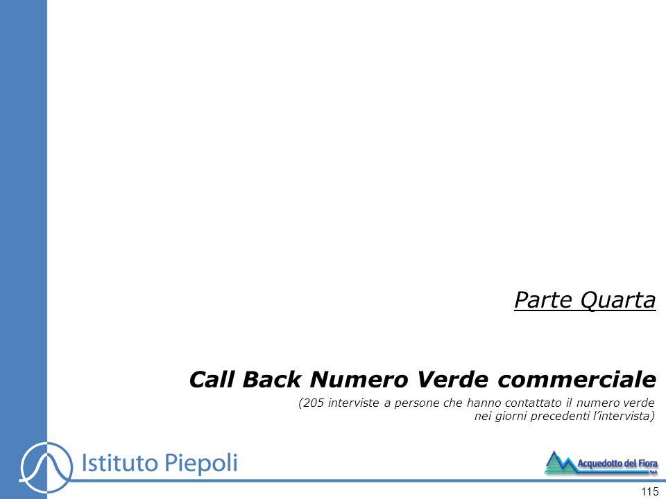 Parte Quarta Call Back Numero Verde commerciale (205 interviste a persone che hanno contattato il numero verde nei giorni precedenti lintervista) 115