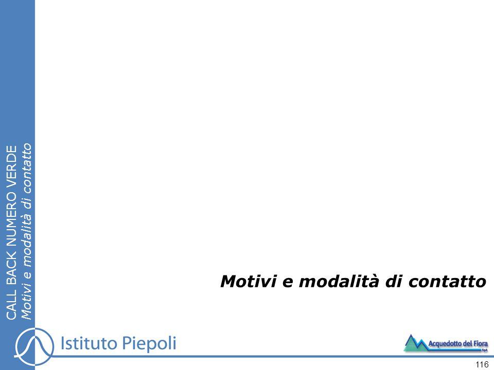 Motivi e modalità di contatto CALL BACK NUMERO VERDE Motivi e modalità di contatto 116