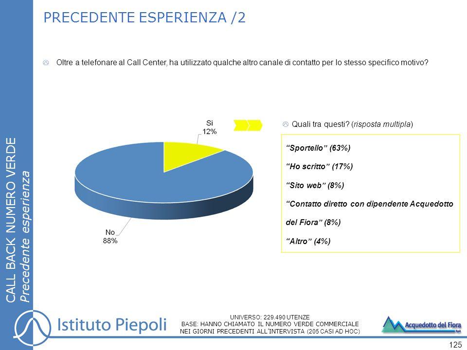 Quali tra questi? (risposta multipla) Sportello (63%) Ho scritto (17%) Sito web (8%) Contatto diretto con dipendente Acquedotto del Fiora (8%) Altro (