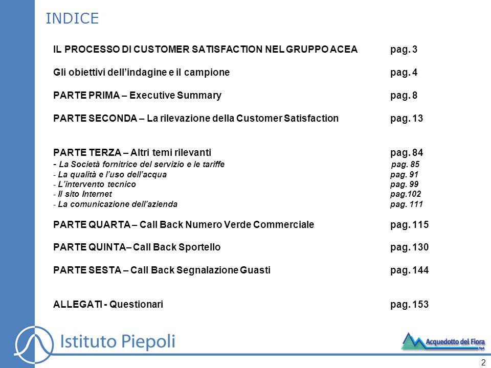 INDICE IL PROCESSO DI CUSTOMER SATISFACTION NEL GRUPPO ACEApag. 3 Gli obiettivi dellindagine e il campionepag. 4 PARTE PRIMA – Executive Summarypag. 8