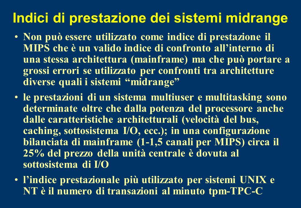 Indici di prestazione dei sistemi midrange Non può essere utilizzato come indice di prestazione il MIPS che è un valido indice di confronto allinterno