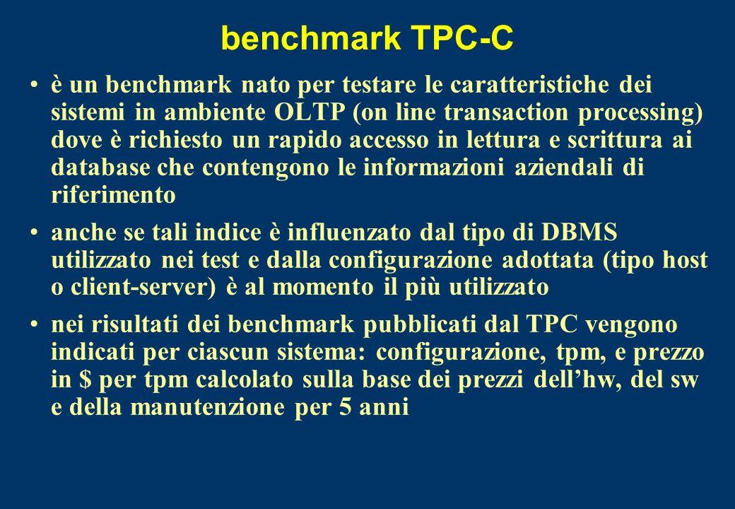 benchmark TPC-C è un benchmark nato per testare le caratteristiche dei sistemi in ambiente OLTP (on line transaction processing) dove è richiesto un r