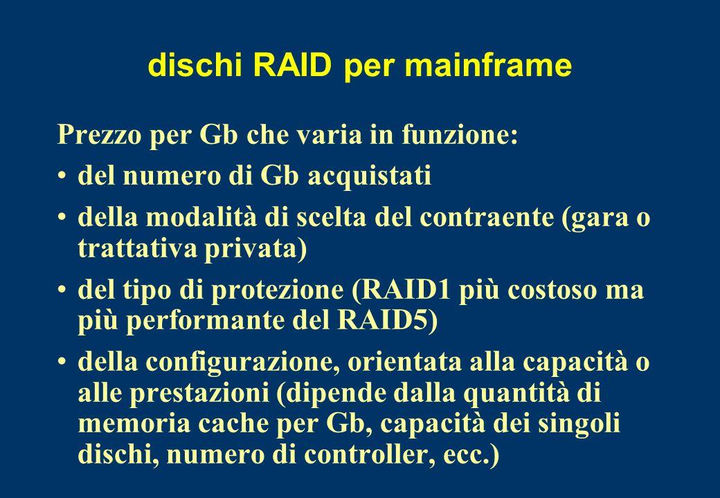dischi RAID per mainframe Prezzo per Gb che varia in funzione: del numero di Gb acquistati della modalità di scelta del contraente (gara o trattativa