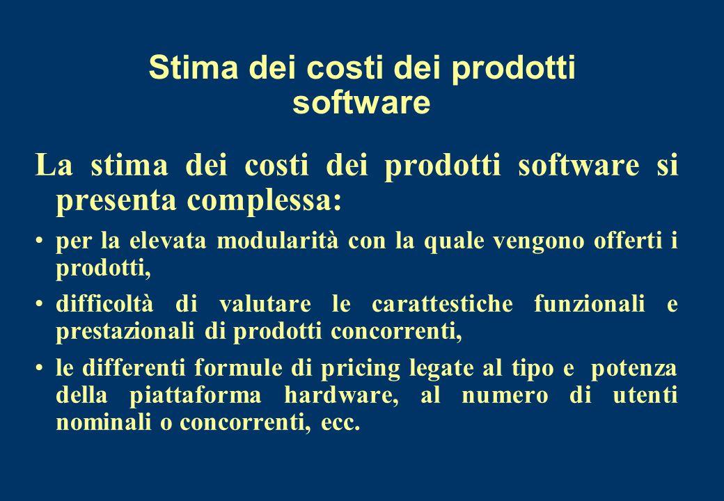 Stima dei costi dei prodotti software La stima dei costi dei prodotti software si presenta complessa: per la elevata modularità con la quale vengono o