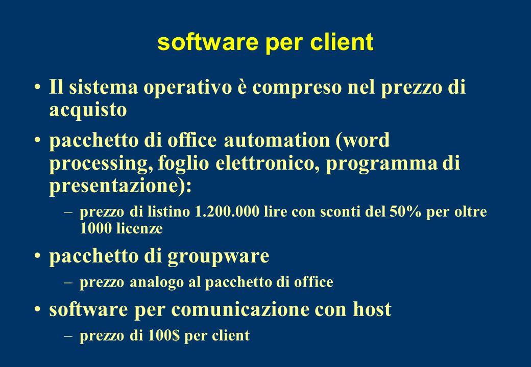 software per client Il sistema operativo è compreso nel prezzo di acquisto pacchetto di office automation (word processing, foglio elettronico, progra