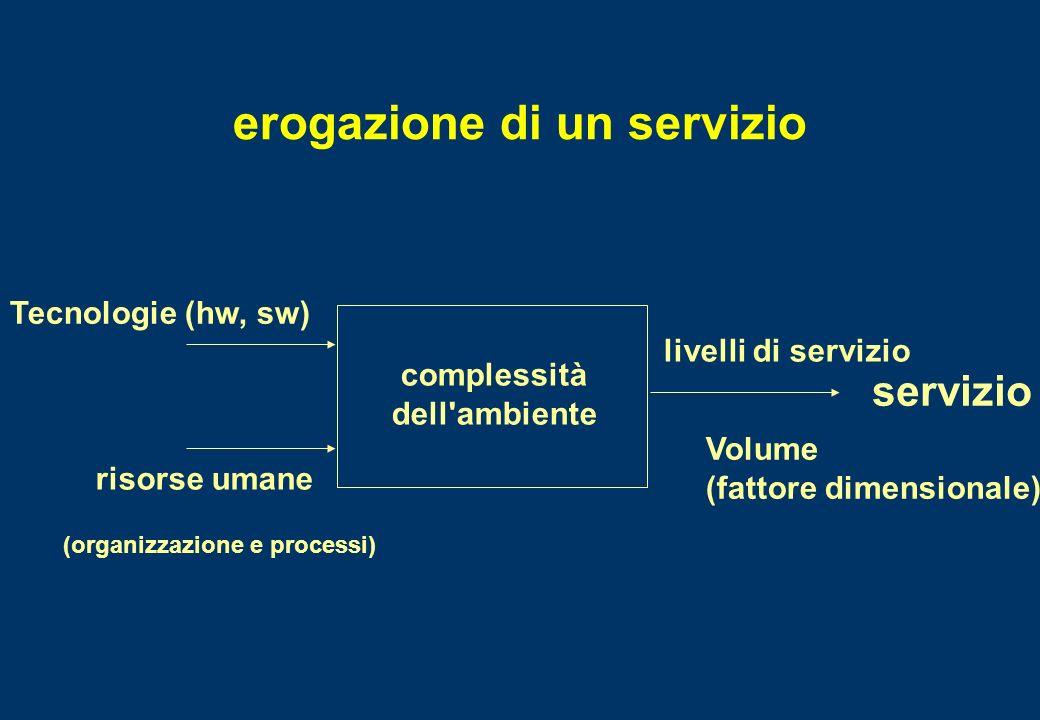 erogazione di un servizio risorse umane Tecnologie (hw, sw) complessità dell'ambiente livelli di servizio Volume (fattore dimensionale) servizio (orga