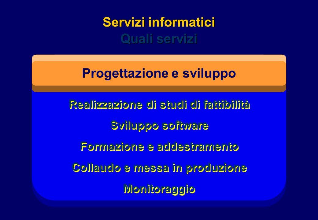 Realizzazione di studi di fattibilità Sviluppo software Formazione e addestramento Collaudo e messa in produzione Monitoraggio Servizi informatici Qua