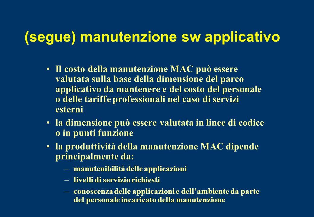 (segue) manutenzione sw applicativo Il costo della manutenzione MAC può essere valutata sulla base della dimensione del parco applicativo da mantenere